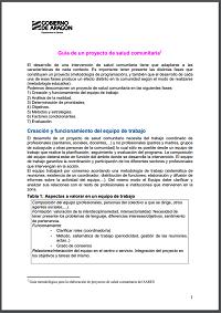 Guía de un proyecto de salud comunitaria / Gobierno de Aragón