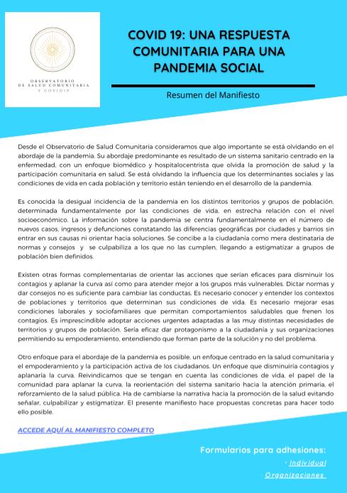 Resumen del Manifiesto COVID-19